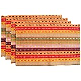 "Ivenf Set of 4 100% Handmade Woven Braided Ribbed Cotton Table Placemats Rainbow Orange 12"" x 18"""