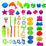 WANONEE 46Pcs Clay Dough Tools Playsets Includes Various Plastic Animal Plant Molds, Sculpting Tool and Colorful Cutters for Creative Dough Cutting, Mega Toy Set for Children
