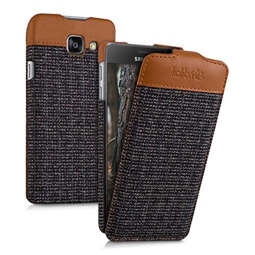 kalibri-Flip-Case-Hlle-Emma-fr-Samsung-Galaxy-A3-2016-Aufklappbare-Stoff-und-Echtleder-Schutzhlle-Tasche-im-Flip-Cover-Style-in-Braun-Anthrazit