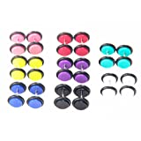 16pcs Cheater Fake Gauges Kit Faux Plugs Tapers Stud Earring 00g Look Assorted No Duplicate (8 Pairs)