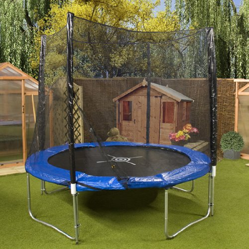 8ft Trampoline - Mad Dash Super SE Space Saver Round Trampoline with Enclosure  &  Weather Cover