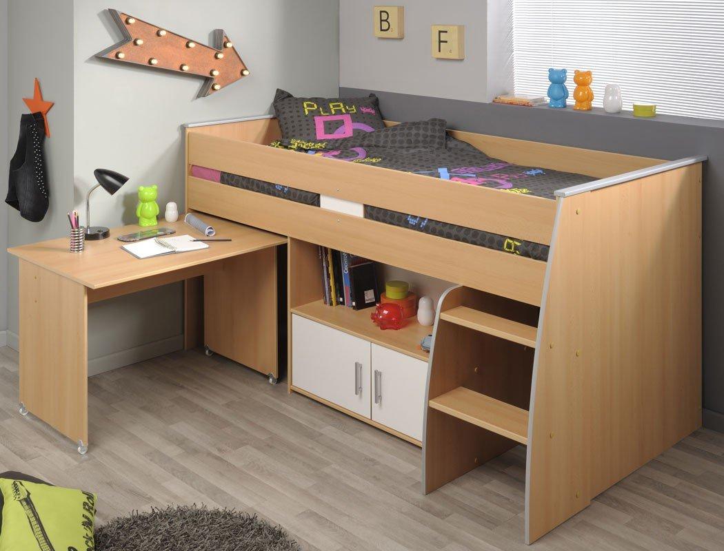 Hochbett Rean 11 206x110x93(183) cm Buche weiß Kinderbett Schreibtisch Bett Kinderzimmer kaufen