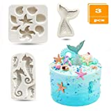SAKOLLA Mermaid Theme Cake Fondant Mold - Seahorse Seashell Starfish Mermaid Tail Silicone Mold for Under The Sea Cake Decoration, Chocolate, Candy, Polymer Clay, Cupcake Decor, Sugar Craft, etc. (Color: Gray)