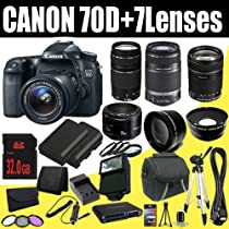 Canon EOS 70D 20.2 MP Dual Pixel CMOS Digital SLR Camera w/EF-S 18-55mm f/3.5-5.6 IS STM Lens + EF 75-300mm f/4-5.6 III & EF-S 55-250mm f/4.0-5.6 IS Telephoto Zoom Lens + EF 18-135mm f/3.5-5.6 IS STM Std. Zoom Lens + EF 50mm f/1.8 II SLR Lens + 2 LP-E6 Replacement Li-Ion Battery & Charger Kit + 32GB SDHC Memory Card & Wallet + 58mm Wide Angle & 2x Telephoto Lens + 58mm 3 Piece Filter & Macro Close Up Kit + HDMI Cable + Case + Tripod + Flash + Card Reader + Deluxe Starter Kit DavisMAX Bundle