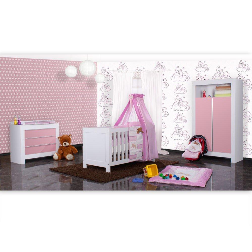 Babyzimmer Felix in weiss/rosa 21 tlg. mit 2 türigem Kl + Joy in rosa