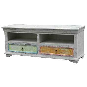 TV Board Lowboard Askoy, Massivholz Mangoholz massiv Antik Weiß Pastell, Breite 150 cm, Tiefe 45 cm, Höhe 60 cm