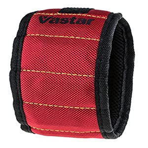 Vastar Magnetic Wristband With 5 Powerful Magnets for Holding Screws, Nails, Scissors, and Small Tools