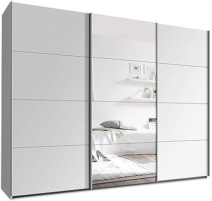 Kleiderschrank mit Schwebeturen B/H/T: 270 x 220 x 69 cm Weiß mit Spiegeltur