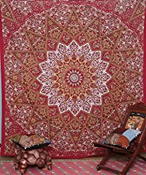 Hallucinatory Indian Star Wall Hanging with Floral Print Bed Cover Labhanshi