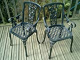 Metal Cast Aluminium Garden Carver Chairs x2 Rose furniture Antique Black
