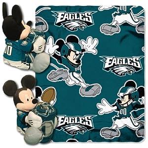 NFL Philadelphia Eagles Mickey Mouse Pillow with Fleece Throw Blanket Set by Northwest