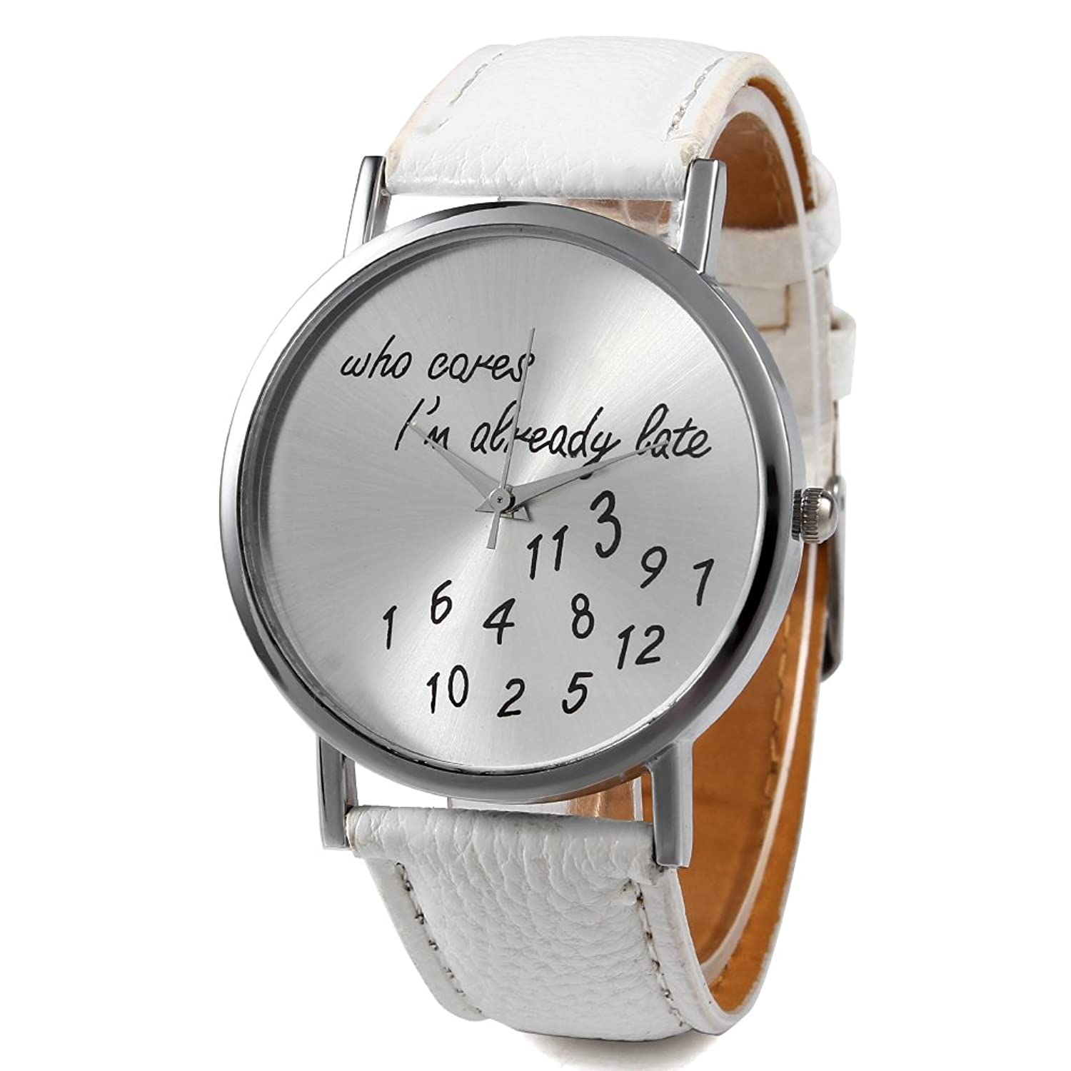 2013newestseller White New Fashion Funny Comment Women Men Wrist Watches, Who Cares Im Already Late