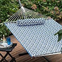 Island Bay 11 ft. Cotton Rope Double Hammock with Metal Stand Deluxe Set (Green/Navy)
