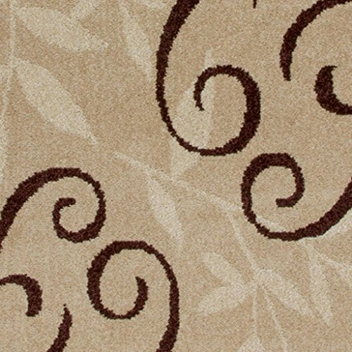 7 Feet 8 Inches By 10 Feet 10 Inches Stain and Fade Resistant Brown Abstract/ Floral Area Rug- Made From 100-percent Polypropylene