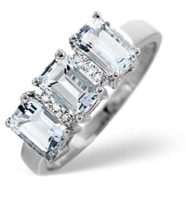 TheDiamondStore | Ring - Oval Aquamarines 1.65ct & Diamonds - 9K White Gold