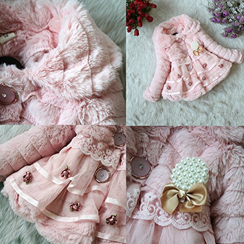 Weixinbuy Kids Girls Faux Fur Fleece Lapel Coat Winter Warm Jacket Pink XS