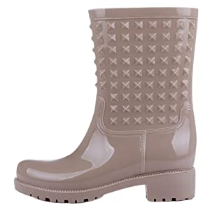 Women's Anti-slip Rubber High Rain Boots Waterproof Buckle Martin Rain Shoes Apricot US 10
