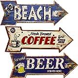 """エンボスプレート アロー レトロ調 """"TO BEACH"""" アンティーク・ヴィンテージ・西海岸風・ブルー系 インテリア (ブルー系 BEACH)"""