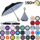 ABCCANOPY Inverted Umbrella,Double Layer Reverse Rain&Wind Teflon Repellent Umbrella for Car and Outdoor Use, Windproof UPF 50 Big Straight Umbrella with C-Shaped Handle,blue strips