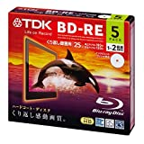 TDK Blu-ray BD-RE RW Re-writable 25GB 2x Speed Gold Top Rewritable Discs Format Ver. 2.1 (Japan Import) - 5 Discs Slim Jewel Case