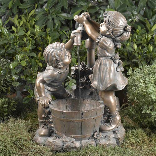 Jeco Boy And Girl Outdoor Fountain Without Light, Resin & Fiberglass