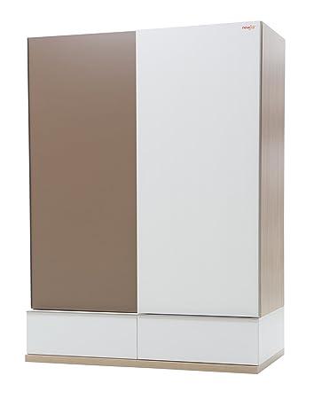New Joy White Mocha Sliding Door Children Wardrobe, 195 x 140 x 75 cm