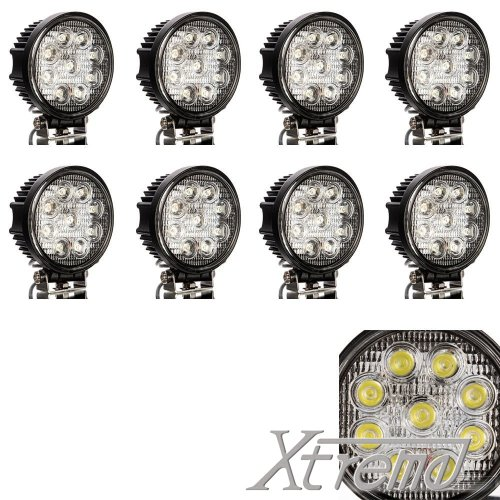 """Xtreme® 4"""" Inch 9Led 27Watt Round Led Work Lamp Light 2160 Lumen Lamp Offroad Light For Truck, 4Wd, Atv, Utv, Polaris Ranger (8 Pack, 27W Round, Spot Light)"""
