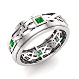 Diamondere Natural and Certified Princess Cut Emerald Wedding Band Ring in 14k White Gold | 0.60 Carat Celtic Knot Ring for Mens, US Size 10