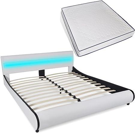 vidaXL Letto Pelle Artificiale Testiera LED 180 cm+Materasso Viscoelastico