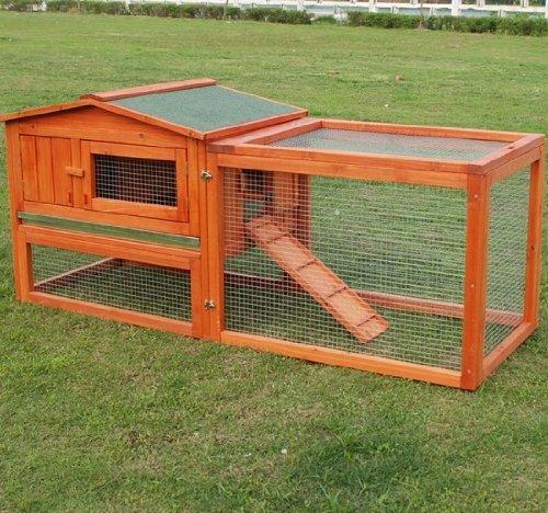 """Pawhut Deluxe 62"""" Wooden Rabbit Hutch / Chicken Coop w/ Outdoor Run"""