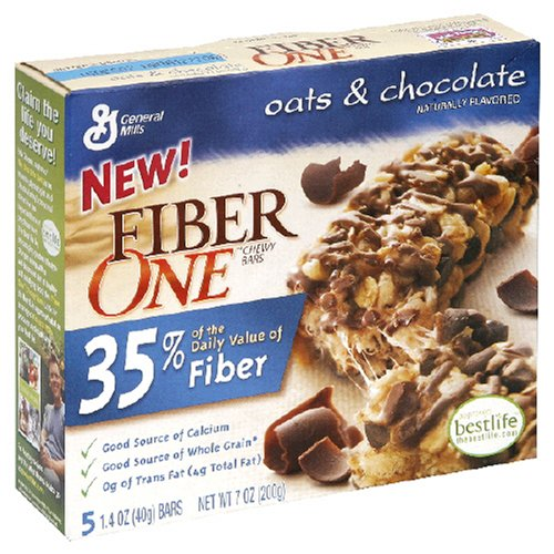 Fiber One Chewy Bars, Oats & Chocolate, 5-Count Boxes (Pack of 12)