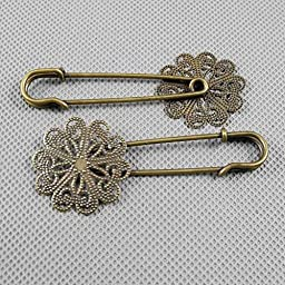 50 PCS Jewelry Making Charms Findings Supply Supplies Crafting Lots Bulk Wholesale Antique Bronze Tone Plated 05312 Flower Safety Pins Brooch