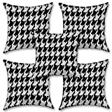 "Black And White Art 16''x16"" Inches Set Of Five Cushion Cover By BS"