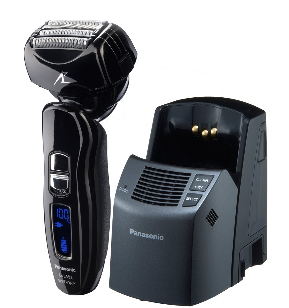 Panasonic ES-LA93-K Men's 4-Blade (Arc 4) Multi-Flex Dual-Motor Wet/Dry Nanotech Rechargeable Electric Shaver with Vortex Cleaning System