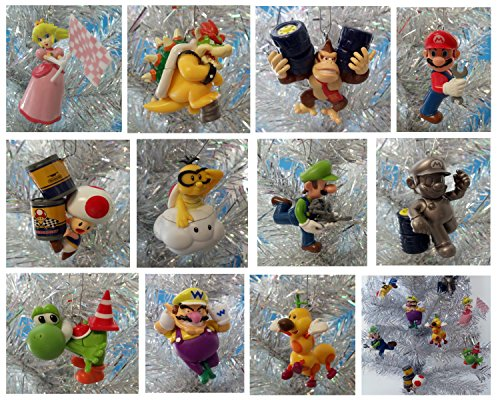 "MARIO KART Inspired Racing Super Mario Brothers Themed Set of 11 Holiday Christmas Tree Ornaments Featuring Bowser, Mario, Wiggler, Lakitu Spiny, Toad, Luigi, Yoshi, Donkey Kong, Wario, and Princess Peach - Ornaments Range From 2"" to 3"" Tall"