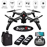 ElementDigital MJX Bugs 5W GPS Drone App Operation iOS Android 1080P Camera Video 1-Key RTH Altitude Hold Track Flight Headless Brushless Motor, 2 Battery, Adjustable Camera Angle, Backpack for B5W (Color: Mjx B5w + Backpack)
