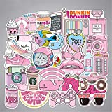 Tmrow Waterproof Laptop Stickers for Kids Girls Adults Puffy, Travel Case Sticker for Water Bottles 50pcs Pink Decorative
