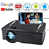 Wireless Projector 2200 Lumen, WEILIANTE WiFi LCD Mini Movie Projector for Home Outdoors, WiFi Directly Connect with Smartphones, 50000 Hours Lamp Life, Support Full HD, HDMI,VGA,AV,USB,SD (Color: Black, Tamaño: C8)