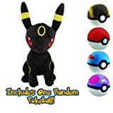 Umbreon 12'' with Mystery Poke Ball Plush Bundle (Color: Red, Blue, Green, Yellow, Gray, Black, Tamaño: 12 Inches)