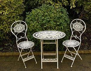 fabulous french style ornate cream metal garden bistro set