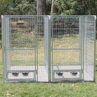 Galvanized Steel Multiple Dog Kennel for 2 Dogs
