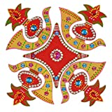 Creations 5 Piece Wooden Rangoli With Kundan Work RAN0001 (30 Cm * 30 Cm * 0.5 Cm)