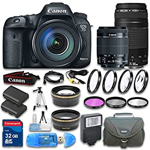 Canon EOS 7D Mark II DSLR Camera + Canon EF-S 18-55mm f/3.5-5.6 IS STM Lens + Canon EF 75-300mm f/4-5.6 III Lens + Wideangle & Telephoto Lens + 32 GB SD Card + 3 PC Filter - International Version