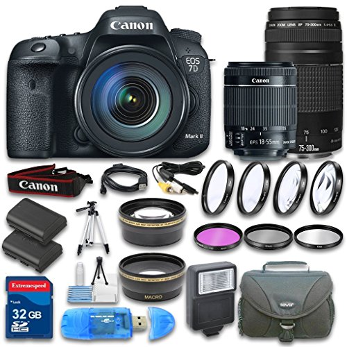 Canon EOS 7D Mark II DSLR Camera + Canon EF-S 18-55mm f/3.5-5.6 IS STM Lens + Canon EF 75-300mm f/4-5.6 III Lens + Wideangle & Telephoto Lens + 32 GB SD Card + 3 PC Filter - International Version (Canon 7d Mark Ii For Dummies compare prices)