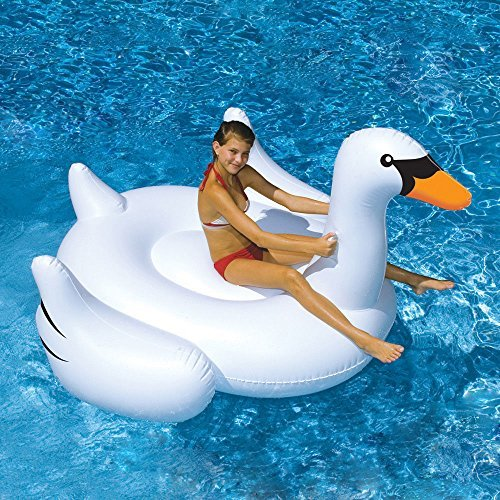 NEW! Fashion Summer Swimming Pool Kids Giant Rideable Swan Inflatable Float Toy Raft 150 cm/ 59 by NMC Shop