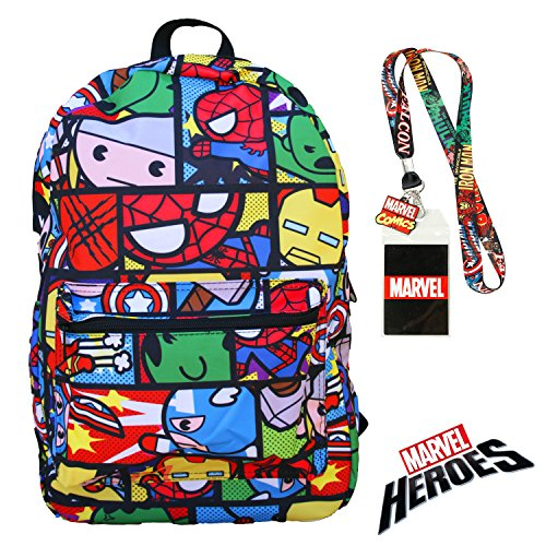 Marvel Heroes Avengers Backpack with Lanyard Badge and Keychain Charm