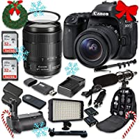 Canon EOS 80D Wi-Fi Full HD 1080P Digital SLR Camera with Canon EF-S 18-135mm f/3.5-5.6 IS USM Lens + 2pc SanDisk 32GB Memory Cards + Battery Grip + Promotional Holiday Accessory Bundle