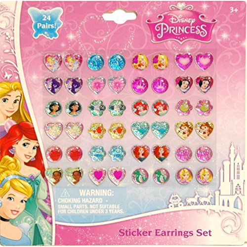 Disney Princess Kids 24-pair Sticker Earrings (Pack of 3) - 1