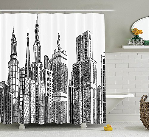 [iPrint Apartment Decor Collection Manhattan at Sunset New York City View From Brooklyn Lights Reflections Seaport Scenery Polyester Fabric Bathroom Shower Curtain Set Brown 72 X 72] (Nerd Costumes At Party City)