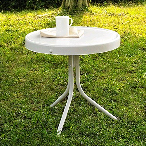 Crosley Furniture Griffith Metal 20-Inch Side Table, White picture